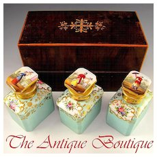 Antique French Inlaid Tea Caddy / Chest, Hand Painted Porcelain Bottles