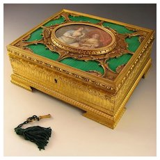 Fine Antique French Enamel & Gilt Bronze Jewelry Casket, Signed Miniature Portrait