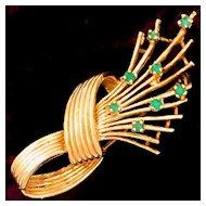 Vintage 14k Gold & Natural Emeralds Brooch
