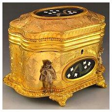 Antique French Signed Giroux Pietra Dura Gilt Bronze Ormolu Jewelry Casket Box