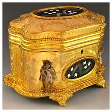 Antique French Signed Giroux Pietra Dura Gilt Bronze Ormolu Jewelry Casket Box