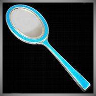 Austrian 935 Sterling Silver Blue Guilloche Enamel Hand Mirror