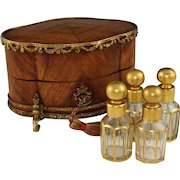 Antique French Perfume Casket, Gilt Bronze Kingwood Inlaid Box, Four Crystal Scent Bottles