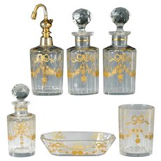 Antique French Baccarat Cut Glass Raised Gold Enamel Perfume Bottle Vanity Set