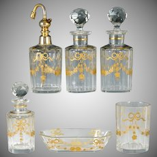 Antique French Baccarat Cut Glass Raised Gold Enamel Perfume Bottle Vanity Set