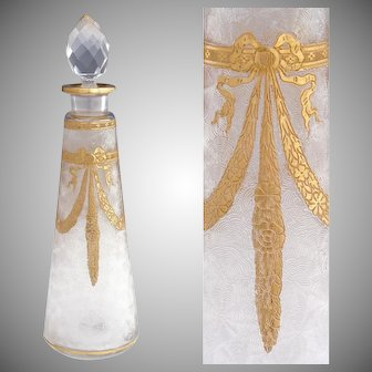 Large Antique French Saint Louis Acid Etched Cameo Glass Perfume Bottle, Gold Gilt Accents
