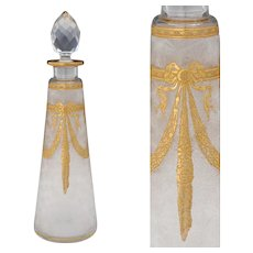 Large Antique French Saint Louis Acid Etched Cameo Glass Perfume Bottle, Gold Gilt Floral Motif