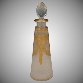 Antique French Saint Louis Acid Etched Cameo Glass Perfume Bottle
