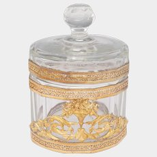 Antique Cut Glass Vanity Lidded Powder Jar, Trinket Box, Empire Style Gilt Ormolu