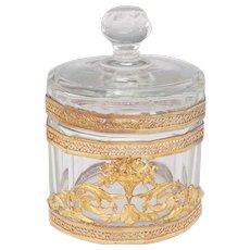 Antique Cut Glass Vanity Lidded Powder Jar, Trinket Box, Empire Style Gilt Ormolu