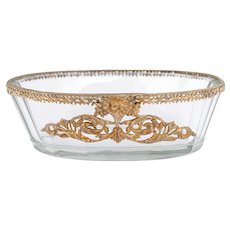 Antique French Cut Glass Trinket Dish, Vanity Pin Tray, Empire Style Gilt Bronze Ormolu Mounts