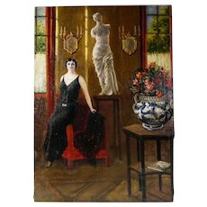 Art Deco Portrait of a Lady, Interior Genre Scene, Oil Painting, 1920s Great Gatsby Style Flapper Dress