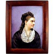 Antique 19thc Hand Painted Porcelain Portrait Plaque, Signed
