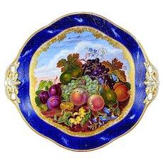 Antique French Sevres Porcelain Plate  Gilt & Blue Lapis Border, Hand Painted Fruit Still Life