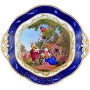 Antique French Sevres Porcelain Plate Gilt & Blue Lapis Border, Hand Painted Pastoral Scene