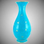 "13"" Antique Sevres French Porcelain Turquoise Blue Vase"