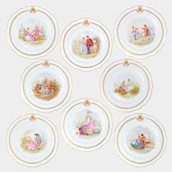 "8pc Antique French Sevres Porcelain Hand Painted Scenic 10"" Plates"