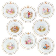 """8pc Antique French Sevres Porcelain Hand Painted Scenic 10"""" Plates"""