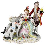 Antique Sitzendorf German Porcelain Group Figurine, Couple & Borzoi Dogs