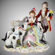 Antique Sitzendorf German Porcelain Group Figurine, Couple & Borzoi Dogs