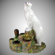 Rare Art Deco French Gabriel Fourmaintraux Desvres Faience Figural Polar Bear Inkwell / Inkstand