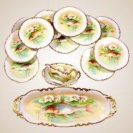 14pc Antique French Limoges Porcelain Signed Hand Painted Fish Service Set, Plates, Platter & Gravy Boat