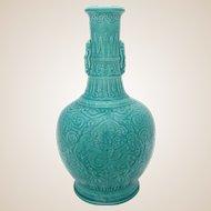 Paul Milet Sevres French Porcelain Vase, Turquoise Chinese Celadon Dragons