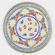 French Sterling Silver Tetard Freres Limoges Porcelain Hand Painted Plate, Blue Cornflowers & Pink Roses, 1