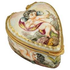 Heart Shaped Capodimonte Porcelain Style Jewelry Trinket Box, Hand Painted Cherubs