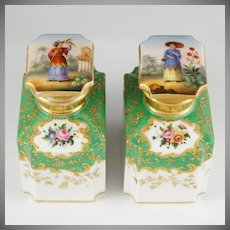 Pair Antique French Tea Caddies Hand Painted Paris Porcelain Chinoiserie & Gold Enamel Bottles