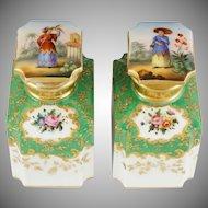 Pair Antique French Tea Caddies Hand Painted Paris Porcelain Chinoiserie & Gold Enamel Bottles