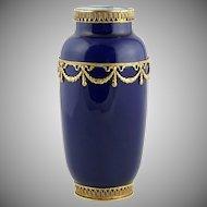 Antique French Sevres Porcelain Paul Milet Cabinet Vase Cobalt Blue Empire Style Gilt Bronze Ormolu Mounts