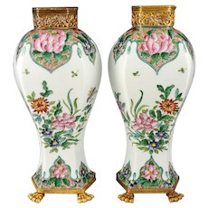 Pair French Limoges Porcelain Hand Painted Baluster Vases Chinoiserie Butterflies & Flowers