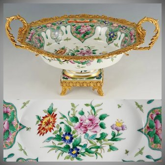 French Limoges Porcelain Hand Painted Centerpiece, Gilt Metal, Chinoiserie Motif