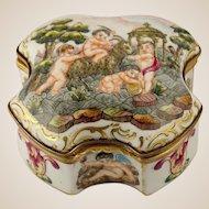 Capodimonte Style Jewelry Trinket Box, German Porcelain, Hand Painted Cherubs & Goat