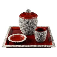 Art Deco Paul Milet Sevres French Ceramic Smoker Set Sang de Boeuf Ox Blood Red Glaze