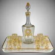 Antique French Glass Liquor Service, 14pc Aperitif Set, Decanter & Cordial Glasses, Raised Gold Enamel