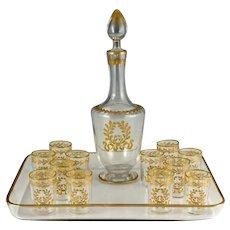 Antique French Glass Liquor Service, 14pc Aperitif Set, Decanter & Cordial Glasses, Raised Gold Enamel