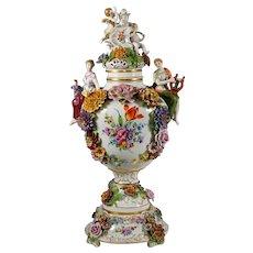 Large German Porcelain Urn Von Schierholz | Hand Painted Applied Flowers, Cherub/Putti & Maiden Figures