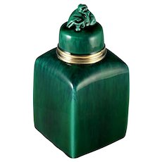 Antique French Sterling Silver Sevres Porcelain Paul Milet Tea Caddy Green Flambe Glaze