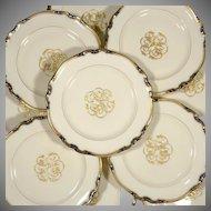 "12 Raised Gold Enamel & Cobalt Blue 10 3/4"" Dinner Plates Black Knight Hutschenreuther Bavaria German Porcelain"