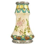 Art Nouveau French Silver Mounted Paul Milet Sevres Ceramic Vase Gold Leaf Foil