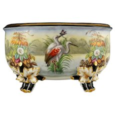 Large Antique French Porcelain Jardiniere, Hand Painted Scene, Birds, Herons / Egrets, Flowers