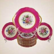 Antique French Limoges Porcelain Hand Painted 13pc Pink & Gold Dessert Service, Floral Artist Signed Serving Tray & Plates Set