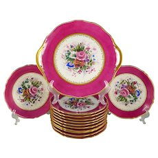 Antique French Limoges Porcelain Hand Painted 13pc Pink & Gold Dessert Service, Floral Artist Signed Serving Tray & Plates Set