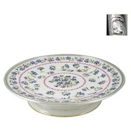 French Limoges Porcelain Sterling Silver Tetard Freres Cake Stand, Tazza Compote, Footed Tray