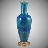 Antique French Sevres Porcelain Paul Milet Gilt Bronze Baluster Vase Blue Flambe Glaze
