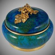 Antique French Sevres Porcelain Paul Milet Trinket Box, Gilt Bronze Grape Finial