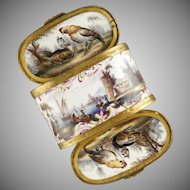 Antique 18thc German Porcelain Gilt Mounted Snuff Box, Tabatiere, Rare Double Sided Dual Lids, Hand Painted Maritime Scenes & Chickens