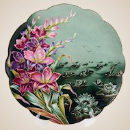 French Limoges Hand Painted Porcelain Plate, Charger, Lotus Flowers, Pink & Purple Gladiolus, Gold Gilt Accents
